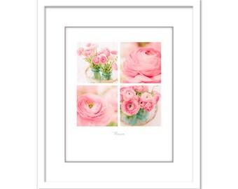 Flower Photo - Pink Ranunculus - Minimalist Photo - Poster - Fleurs - Flowers - Fine Art Photography Print - Pink White Modern Decor