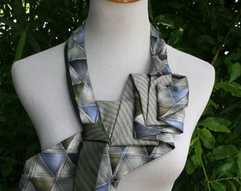 RecycledNeckties ~ Necktie Necklace ~ Tommy Hilfiger GRAY & GREEN Silk Tie / J Garcia Aztec Objects Silk Tie ~ Necktie Scarf ~ Silk Scarf