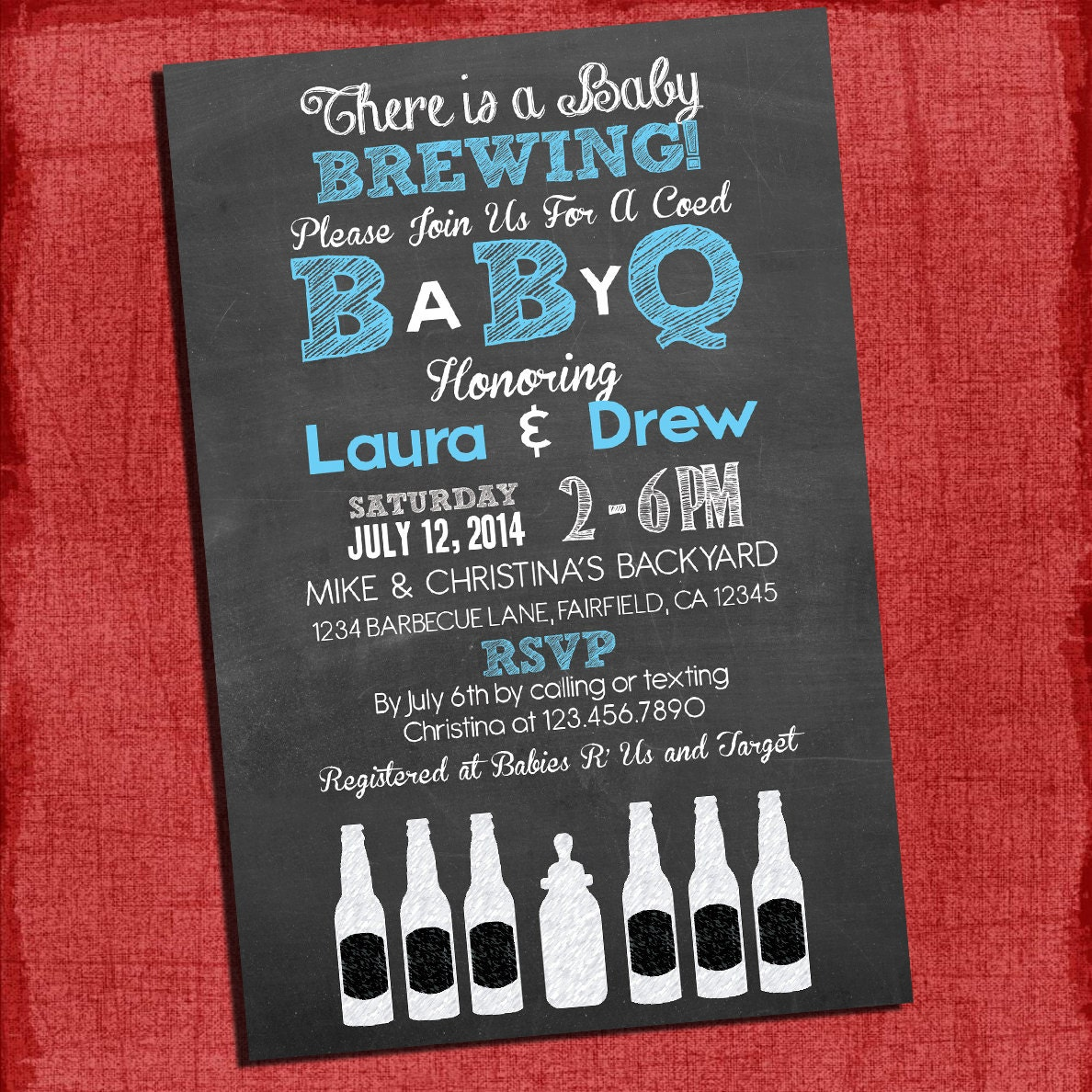 Printable Baby Q Shower Invitation Barbecue baby shower