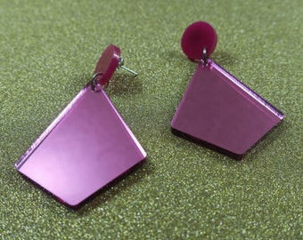 Pink Mirror Geometric Earrings - lasercut acrylic