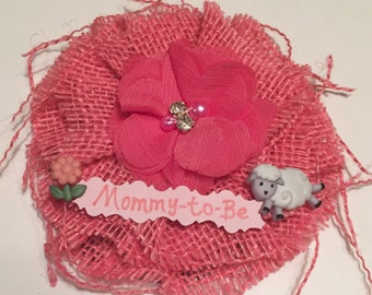 Baby Shower Corsage/ Lamb Baby Shower Corsage/ Pink Lamb Baby Shower Burlap Corsage/ Sheep Pink Baby Shower Pin/  Farm Baby Shower Corsage
