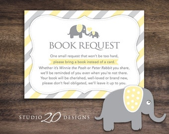 Instant Download Yellow Elephant Book Request, Elephant Book in Lieu of Card, Gender Neutral Elephant Baby Shower Book Instead of Card 22F