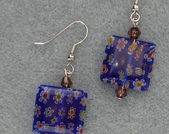 Unique glass dangle earring