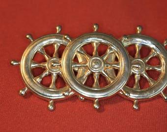 3 Ship Wheel brooch Vintage brooch nautical brooch pirate brooch Sailors