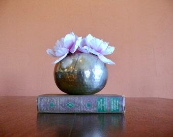 Boho Round Brass Orb Vase, Hammered Brass, Rustic Patina India Brass Planter
