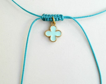 Turquoise choker, Cross choker,Enamel charm,String necklace,Adjustable,Devil protection,Waxed string,Spiritual gifts,Religious jewelry,Greek