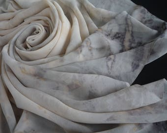 Unique Silk Georgette Fabric 150x107cm Naturally Dyed and Eco Printed Silk for Sewing or Scarf Eucalyptus Tan Grey Black Orange