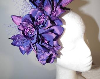 AURORA wedding bride designer millinery purple pink floral flower fascinator wedding  head net veil Watt Millinery taffeta romance raceday