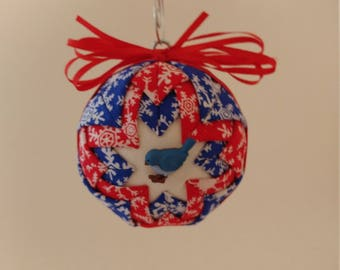 Red, blue & white folded fabric handmade ornament with blue bird decoration