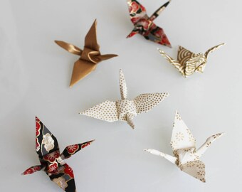 6 mini origami cranes in black and gold
