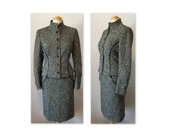 Vintage 90s Valentino Suit S Nubby Tweed Jacket and Skirt