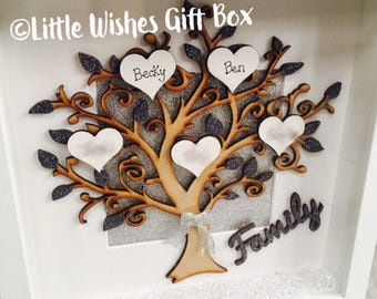 Family tree box frame, wooden tree with gold or silver glitter, freestanding or wall hung, up to 12 names added, personalised, handmade