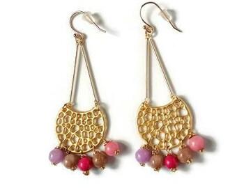 Half Moon Earrings-Statement Earrings-Gold Statement Earrings-Geometric Earrings-Colorful Beads Earrings-Minimalist Earrings-Gold Earrings