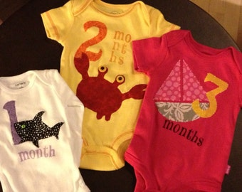 Girl Month-by-Month Nautical Bodysuits (1-3 Months)