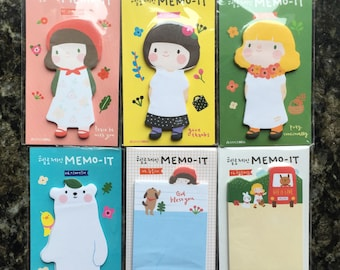 MEMO IT girls memo, polar bear memo,memo sticker,sticky note,post-its,stationery,memo pad