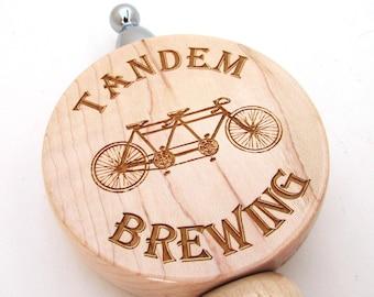 Personalized Beer Tap Handle - Custom Laser Engraved Beer Tapper - Wood Keg Tap Handle