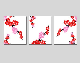 Cherry Blossom Decor Cherry Blossom Art Cherry Blossom Wall Art Red and Pink Floral Art Set of 3 Prints  - Choose Your Size and Colors