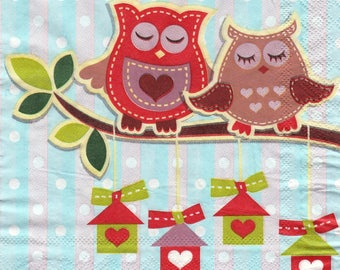 563 owls on the branch pattern X 1 4 X 4 pattern lunch size paper towel