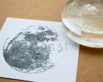 Moon Stamp - Man in the Moon Stamp -  Clear Stamp - Moon Rubber Stamp - Clear Moon Stamp - Gold Moon - Copper Moon - Little Stamp Store
