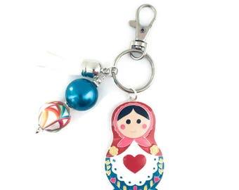 Nesting Doll Key Chain, Russian Nesting Doll, Babushka Doll Key Chain, Matryoshka Doll Key Chain, Russian Gift, Nesting Doll Gift