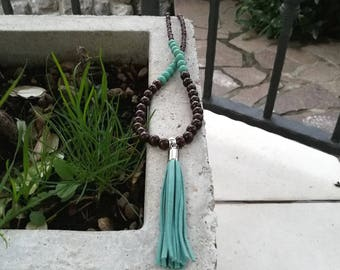 Turquoise Tassel Necklace...Long turquoise boho necklace / Turquoise faux suede tassel necklace / Turquoise and brown boho necklace
