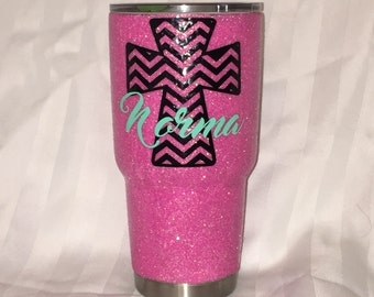 Hot pink glitter tumbler w/ cross