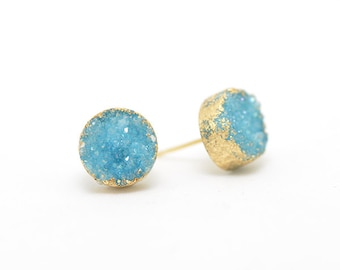 Aqua Druzy Earrings | Aqua Earrings | Gifts for Her | Gifts for Mom | Sparkly Earrings | Evening Earrings | Something Blue