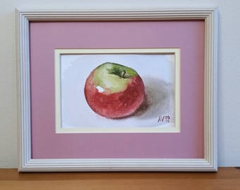 Empire Apple Original Watercolor Painting Still Life by Aleksey Vaynshteyn