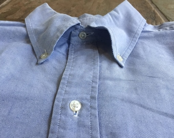 BROOKS BROTHERS Light Blue Oxford Button Down Shirt 16.5 - 34 Ivy League Trad 6 Button