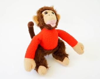 REDUCED Vintage 1960s Plush Toy / HTF Animal Fair Stuffed Monkey / Retro Circus Animanl Baby Nursery Childs Room Decor Toy Collectible
