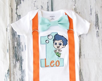 Bubble Guppies Cake Smash Outfit, Gil Bubble Guppies 1st birthday bow tie suspender set cake smash outfit, Boy first birthday, Boy number 1