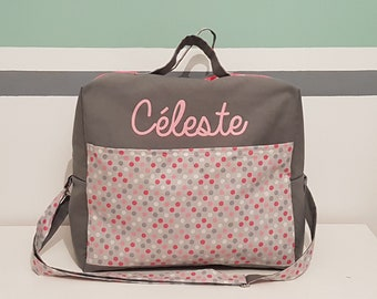 Pink travel bag in gray anthracite and cotton canvas with polka dots with the name
