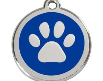 Red Dingo Stainless Steel & Enamel Paw Prints Dog ID Tag