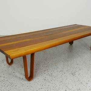 FREE SHIPPING mid century modern refinished Edward Wormley Dunbar cherry wood winged plank coffee table