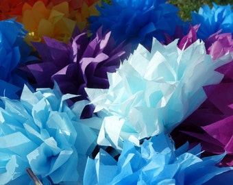 "Four (4) Sky Ice Blue & Silver Medium CONNECTING PuffScape DIY Tissue Paper Flower Pom Pom Puffs 12"" Wired Baby Boy Winter Wedding Party"