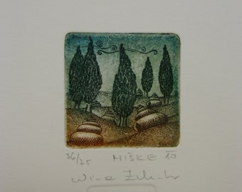 Little Houses, original etching, limited edition