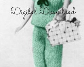 "Barbie Sweater and Pants Set Knitting Pattern, Vintage 1963, Sailor Collar Sweater Top, 11.5"" Teenage Doll, PDF Instant, Digital Download"