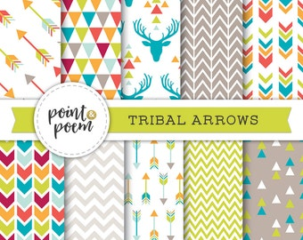 Arrows Tribal Digital Papers, Green Turquoise Red Printable Triangles Chevron Antlers Deer Hipster - Commercial Use