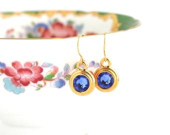 September Birthstone Earrings - September Birthday Gift - Birthstone Dangle Earrings - Birthday Stone Jewelry - Sapphire Birthstone Earrings