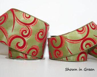 Enchanting Swirls Christmas Ribbon - Wire Edge - 4 Colors & 2 Widths -25 Yard Roll