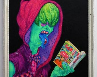 "Pop Surrealism **ORIGINAL ART** hand-drawn Leif Jones ""anime-monster-punk"" pencil painting"