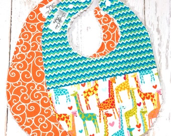 Giraffe Baby Bibs, Gender Neutral Bibs - Set of 2 Triple Layer Chenille -  Orange, Blue, Green, Chevron - GIRAFFE LOVE