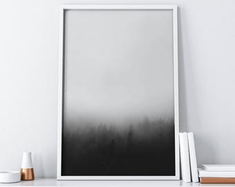 Misty Forest Printable Art| Black and White Art| Minimalist Poster Instant Download| Foggy Mountain Wall Art Digital Print| Rustic Decor