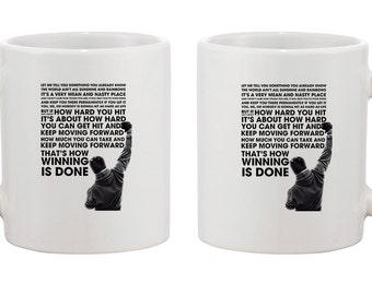 Rocky Balboa quotes movie poster ceramic cup coffee tea mug ideal gift birthday present mug