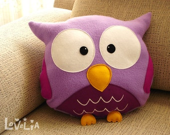 purple owl plush pillow rainbOWL -decorative plush pillow -