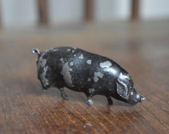 lead tin black pig vintage toy