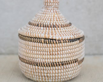 White & Black African Basket with Lid