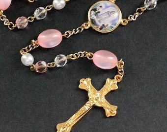 Pink Crystal Rosary. Pink Rosary. Beaded Rosary. Handmade Rosary. Catholic Holy Rosary. Traditional Rosary. Gold Rosary. Handmade Rosaries