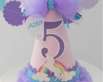 Unicorn and Rainbow Birthday Party Hat - Circus - Pink, Aqua and Purple - Personalized