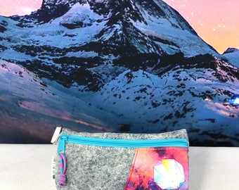 Upcycled Denim Pouch with Custom Galaxy Print